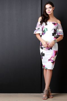 Floral Off The Shoulder Mesh Bell Sleeves Midi Dress