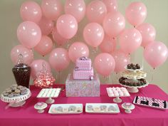 Dessert bar for a baby girl that's on her way!  Lovely idea for a baby shower.