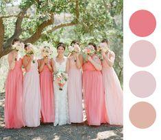 Ideas de Vestidos de Colores para las damas   Mismatched Colors Bridesmaids Dresses Ideas #bridesmaids #dresses #colors #wedding  www.noviaticacr.com