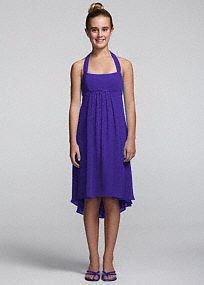 This chic and youthful chiffon dress is the perfect choice for your junior bridesmaid!  Tie back halter�neckline features sparkling and flattering beaded empire waist.  Chiffon high low hemline creates movement and dimension.  This style features an adjustable fit for added flexibility and comfort with fewer alterations.  Fully lined. Back zip. Imported polyester. Dry clean.