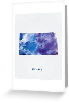 Kansas   #kansas #state #unitedstates #usa #map #art #print #greeting #post #card #stationery #gift #ideas #travel #abstract #minimalist #topeka #wichita #city #pawnee #kiowa #watercolor #osage #county