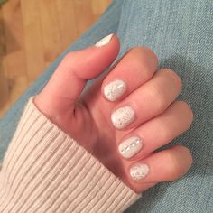 white shellac with silver glitter