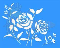 Stencil Flores Roseira 20x25 - OPA
