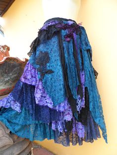 """20%OFF SALE vintage inspired extra shabby wrap skirt/shawl...a work of art 46"""" across plus ties."""