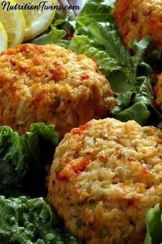 Mini Crab Cakes | Savory & Delicious | Healthy Appetizer or Snack, Just 24 Calories each! | For MORE RECIPES, fitness & nutrition tips please SIGN UP for our FREE NEWSLETTER www.NutritionTwins.com
