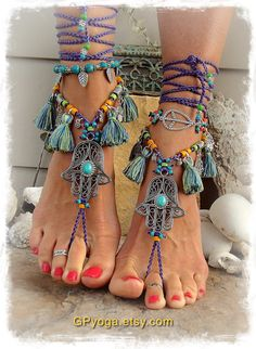 Purple HAMSA hand BAREFOOT sandals TASSEL Dance foot jewelry Toe Ankle wrap sandal Summer Fun Ethnic Wedding Hippie Boho bare feet GPyoga