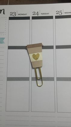 Coffee Planner Clip/ heart coffee clip/ plannerclip/ paperclip / tea planner clip by RUNWITHCRAFTSCISSORS on Etsy