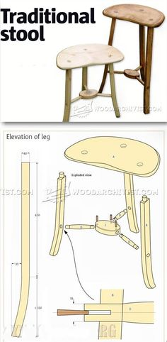 Three Legged Stool Plans - Furniture Plans and Projects   WoodArchivist.com