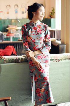 Winter Sleeve Cotton Long Cheongsam Chinese dress by RockRollRefresh.com
