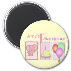 Customize your own 1st birthday magnets