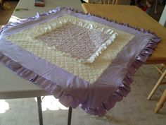 Homemade baby blanket with ruffles