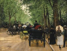 Jean Béraud (1849-1935) FRENCH BOIS DE BOULOGNE oil on canvas 18 by 23 in. 45.7 by 58.4 cm