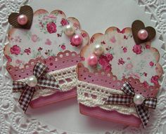 Cupcake Embellishments-Set of 2-Vintage Pretty In Pink on Etsy, $2.99