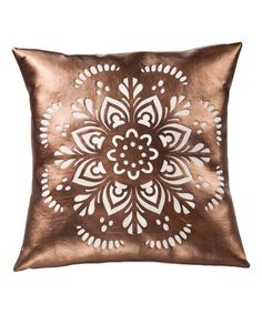 Look at this Floral Metallic Faux Leather Throw Pillow on #zulily today!