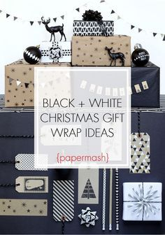 Black and white Christmas gift wrap ideas.