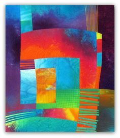 """Love the depth!  Mojave. Hand dyed cottons, silk, fused, machine quilted. 21.25 x 24.5"""".  Melody Johnson."""