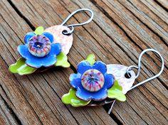 Gorgeous earrings by Melissa Meman using my lampwork headpins Earrings Everyday: Pinwheels