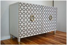 Decorative fretwork panels that come in several patterns and sizes. They are light weight, paintable and easily attach to furniture, doors, walls and glass.