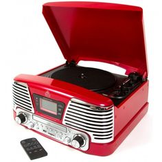 GPO Retro Memphis Record Player 4 in 1 Music System with Radio, CD & MP3 Player Red $113.34 (FREE UK DELIVERY)