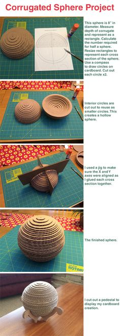 My first attempt at a sculpture made of cardboard #sphere #corrugate #cardboard