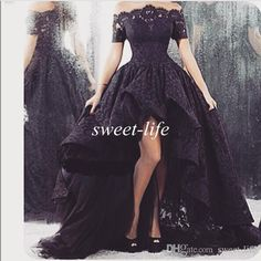 2015 Arabic Black Lace Prom Dresses High Low Off Shoulder with Short Sleeve Ruffle Sheer Neck Tulle Vintage Party Gowns Formal Evening Dress