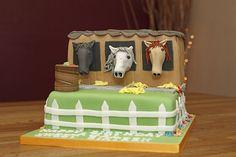 2 Tier Horse Stables Cake with handmade fondant horses & apple barrel Fondant Horse, Horse Cake, Cowboy Birthday Cakes, Apple Barrel, Horse Stables, Cake Ideas, Horses, Handmade, Horse Barns