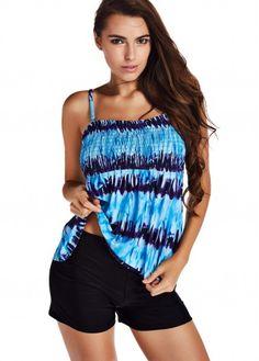 Blue Tie Dye Print Tankini Swimsuit for Women