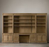 RH's Library Desk Wall System:Our solid wood bookcase system is constructed with the same care as a custom built-in. Office Built Ins, Built In Desk, Built In Bookcase, Bookcase Desk, Home Library Design, Home Office Design, Home Interior Design, Design Desk, Desk Wall Unit