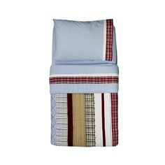 """Bacati Boys Stripes and Plaids 4pc Toddler Bedding Set - Bacati - Babies """"R"""" Us  $90!  This one with the cowboy curtains.  PERFECT!"""