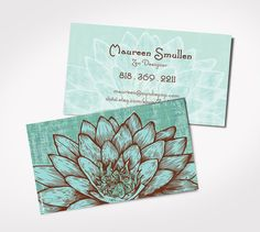 Blue LOTUS FLOWER  PRINTED Business Cards  Yoga  by ZyndiePOP