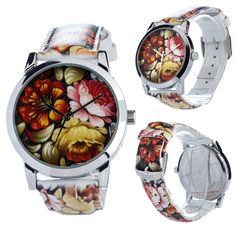 ZIZ watch Unisex, Band, Wristwatches, Unique Jewelry, Peonies, Leather, Floral, Collection, Sash