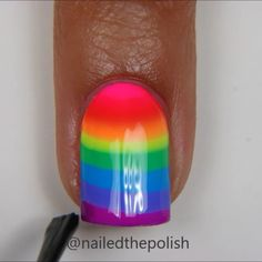 Tutorial for rainbow stripe mani! Super easy cause you don't need to make a design! You could just leave it as a bullseye if you want the lines to curve more - loving this so much! Gorgeous Nails, Love Nails, Pretty Nails, Nail Art Brushes, Rainbow Nails, Cute Nail Art, Cute Nail Designs, Nail Tutorials, Diy Nails