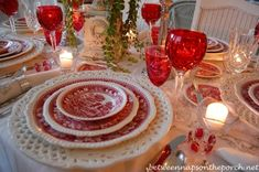 """Lovely table setting for Valentine's Day :: Copeland Spode: the 'Tower' pattern was designed and based on an 1814 print of """"The Bridge of Salaro. Christmas Table Settings, Christmas Tablescapes, Holiday Tables, Christmas Tea, Christmas Decor, Winter Table, Pink Table, Beautiful Table Settings, Vintage Dishes"""