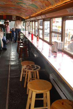 The Grilled Cheese Grill....restaurant inside of an old school bus! Clever.