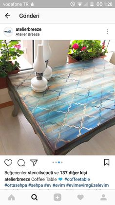 Moroccan or arabesque design rustic painted desk or entry console. - Home Decor Hand Painted Furniture, Distressed Furniture, Refurbished Furniture, Paint Furniture, Repurposed Furniture, Furniture Projects, Rustic Furniture, Furniture Makeover, Cool Furniture