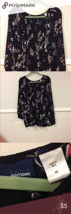 Basic Edition 3X blouse good condition Size 3X Basic Edition blouse good condition Basic Edition Tops Blouses