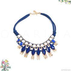 Collar Azul de Pedreria en Oparina. #oparina #statementnecklace #navidad #christmasgift #christmas