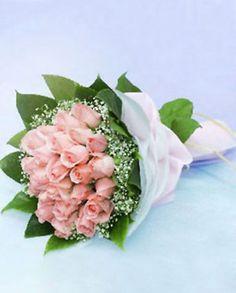 26 rosas de color rosa, la respiración del bebé, seguido de la hoja de naranja e