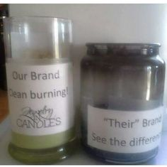 Hmm to me the one on the right does not look very nice!! Our #allnatural #soywax burns so clean and even... now that's something I think I would want around me and my family.. what about you?? #jic #candles #tarts