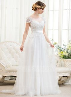 A-Line/Princess Scoop Neck Sweep Train Tulle Charmeuse Lace Wedding Dress With Beading Sequins (002052783) - JJsHouse