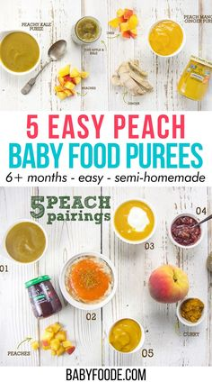 These 5 Easy Summer Peach Baby Food Purees are the perfect combination of store-bought baby food with a homemade twist. Great for babies 6+ months! Semi-homemade purees for baby in under 5 minutes, now we're talking! Peach Puree, Mango Puree, Baby Puree Recipes, Baby Food Recipes, Homemade Peach Cobbler, Baby Cereal, Cinnamon Oatmeal, Ripe Peach, Semi Homemade