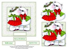 6 x 6 Kissing Xmas Bears Lace Pearls Decoupage Card Topper on Craftsuprint designed by Elaine Sheldrake - This fun card topper is sure to please young children and adults alike. Perfect for a quick card front to fit a 6 inch square card, or can used for an 8 inch square card, leaving plenty of room around the borders for you to add your own embellishments. Ideal too for Easel cards. If you have more time it looks stunning when decoupaged. - Now available for download!