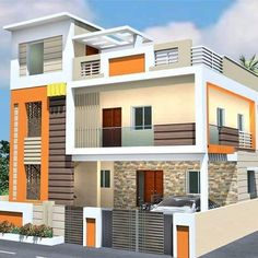 Building Elevation, House Elevation, House Front Design, Modern House Design, Dream Homes, Multi Story Building, Mansions, Decoration, House Styles