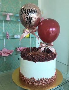 Elegant Birthday Cakes, 21st Birthday Cakes, Beautiful Birthday Cakes, Beautiful Cakes, Birthday Ideas, Cake Frosting Designs, Cake Designs, Cake For Husband, Balloon Cake