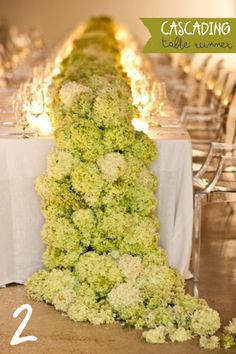 Cascading Table Runner of Hydrangeas - talk about a statement full of beauty and scent - plus the full stems provide bang for your buck!-CMP