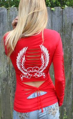 Redneck Biker - Red-Skull / Wings Langarm T-Shirt, USD (www. Biker Chick Outfit, Biker Chick Style, Motorcycle Outfit, Camo Outfits, Girl Outfits, Fashion Outfits, Sporty Outfits, Biker Wear, Gucci