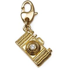 kate spade new york Camera Charm ($24) ❤ liked on Polyvore featuring jewelry, pendants, charms, gold, kate spade charm, gold jewelry, gold jewellery, gold charms and gold charm jewelry