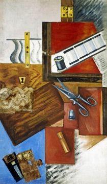 """Olga Rózanova, """"Costurero"""", 1915. Galería Estatal Tretiakov. Las transgresoras amazonas no renunciaron a sus ocupaciones femeninas, ni a la creatividad que estas conllevan. Así lo demuestran las imágenes de objetos y herramientas de la costura que aparecen en sus pinturas. #ProgramaNosotras"""