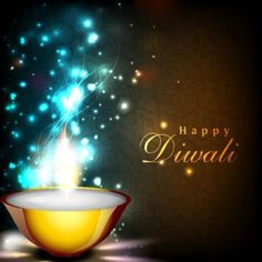 Vector happy Diwali beautiful typography with glowing diya on colorful blue and…