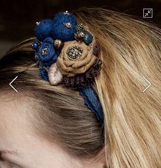 """Купить Ободок """"Черничные ягоды"""" - тёмно-синий, синий ободок, ободок для волос, ободок с ягодами"""